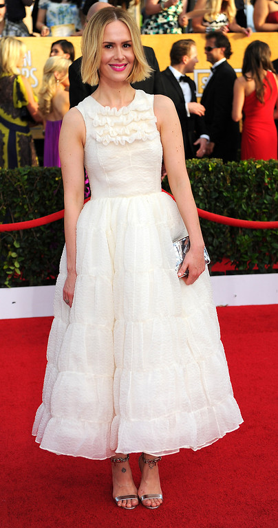 . Sarah Paulson arrives at the 20th Annual Screen Actors Guild Awards  at the Shrine Auditorium in Los Angeles, California on Saturday January 18, 2014 (Photo by Michael Owen Baker / Los Angeles Daily News)