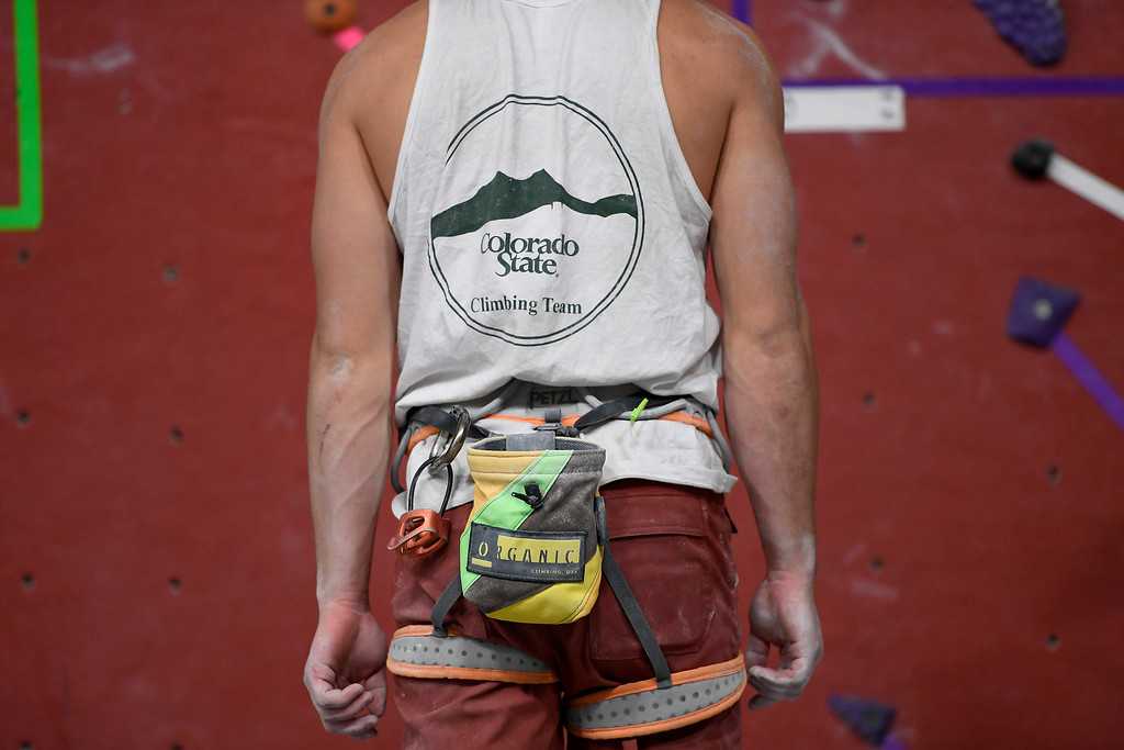 . FORT COLLINS, CO - MAY 05: Dan McClure prepares to climb on Thursday, May 5, 2016. In April, the Colorado State climbing team won the USA Climbing national title � its second straight win. (Photo by AAron Ontiveroz/The Denver Post)