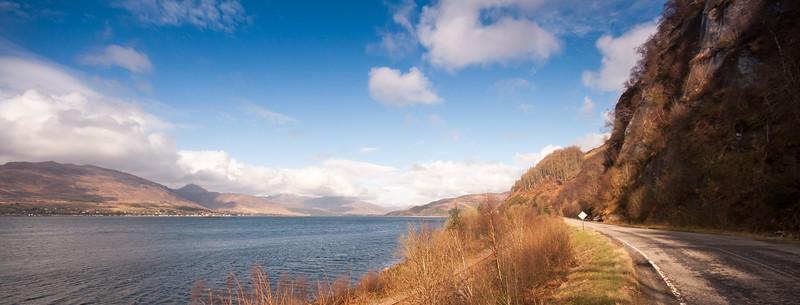 Road beside sea at Loch Carron