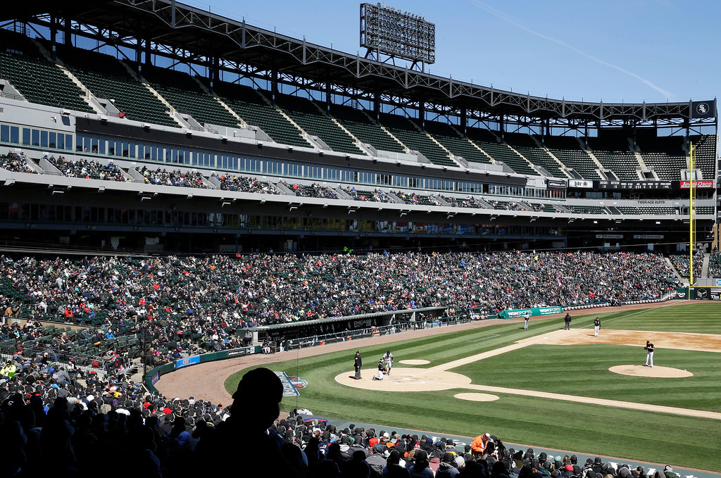 . The upper deck was closed off after ice formed on the walk-up ramps as the Chicago Whites Sox decided to close off the entire section for safety reasons, during a baseball game against the Cleveland Indians, Saturday, April 9, 2016, in Chicago. Fans were allowed to exchange their seats for tickets in the lower bowl. (AP Photo/Nam Y. Huh)