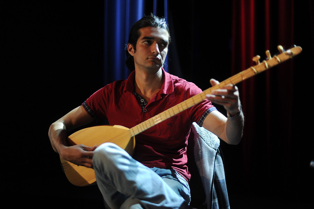 . Pouya Forohari plays the baglama during a rehearsal of  Assyrian music at Stars on Brand in Glendale Tuesday, February 25, 2014. The Assyrian Aid Society, which raises funds for Assyrians who are living in refugee camps in war torn parts of the Middle East, will hold a concert featuring rarely heard Assyrian folk music.  (Photo by Hans Gutknecht/Los Angeles Daily News)