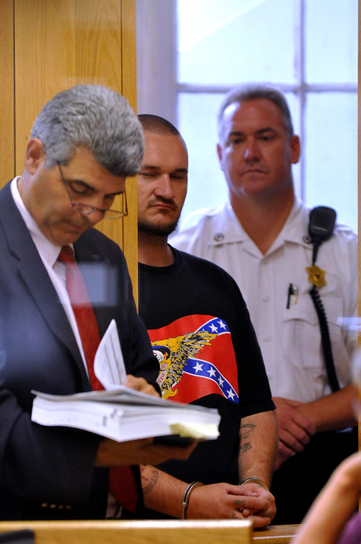 . Adam Lee Hall is arraigned Berkshire District Court in Pittsfield on multiple charges.  Representing him is attorney William Rota, Tue Sept 6, 2011 (GARVER)