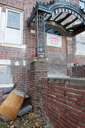 12/06/17 Wesley Bunnell   Staff Trash and other items near the entrance to 24 Tremont St in the North Oak Section of New Britain. Residents of the neighborhood have recently been speaking up regarding blight and alleged neglect from the city regarding their concerns.