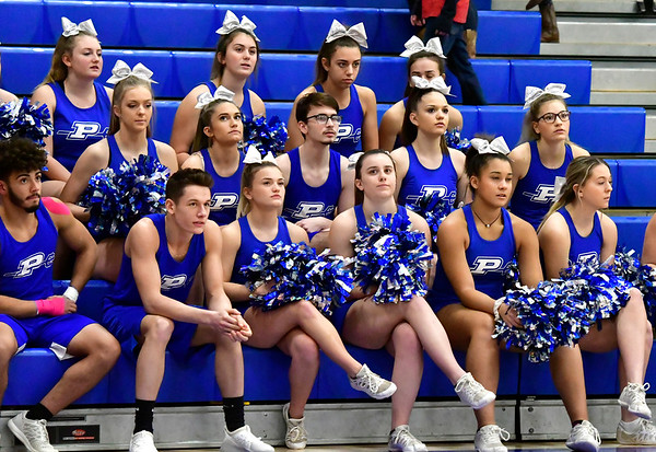 12/13/2018 Mike Orazzi | Staff Plainville High School Cheerleaders during Thursday night's basketball game with Bristol Central at PHS.