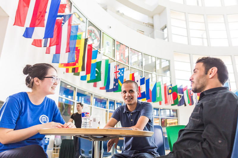 TAMU-CC international students in the University Center on campus