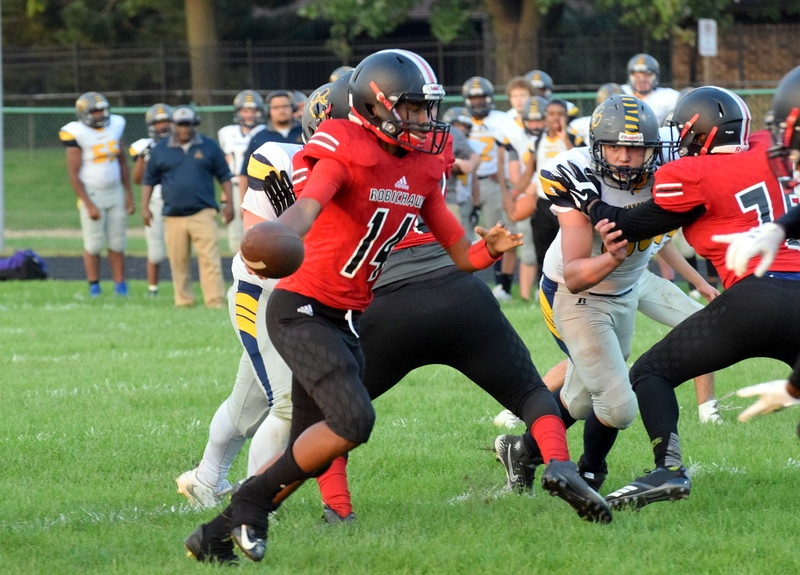 Robichaud welcomed in Annapolis on Friday night for a WWAC battle that featured two schools both located in Dearborn Heights.  The powerful Bulldogs ultimately rolled to a 54-8 win over the Cougars. Frank Wladyslawski - Digital First Media - Frank Wladyslawski