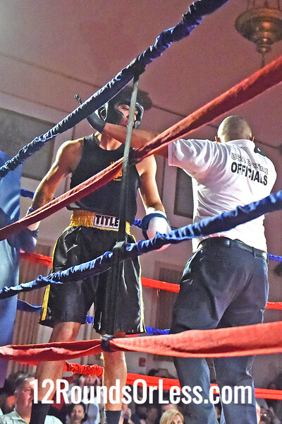 Bout 6 Jon Huddleston, Red Gloves, Earl B Turner Rec,  Cleveland -vs- Elvis Torres, Blue Gloves, WSBC, Cleveland, 152 Lbs