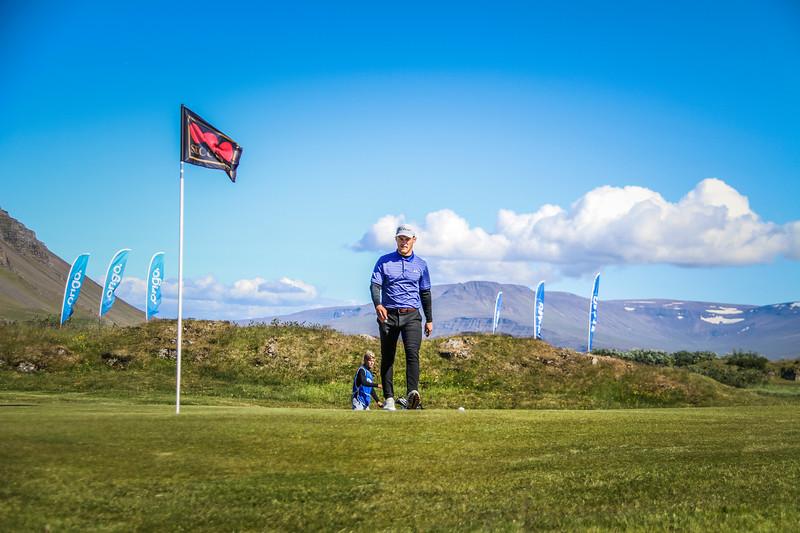 Hákon Harðarson, GR, á 9. flöt á Garðavelli.  Mynd/seth@golf.is