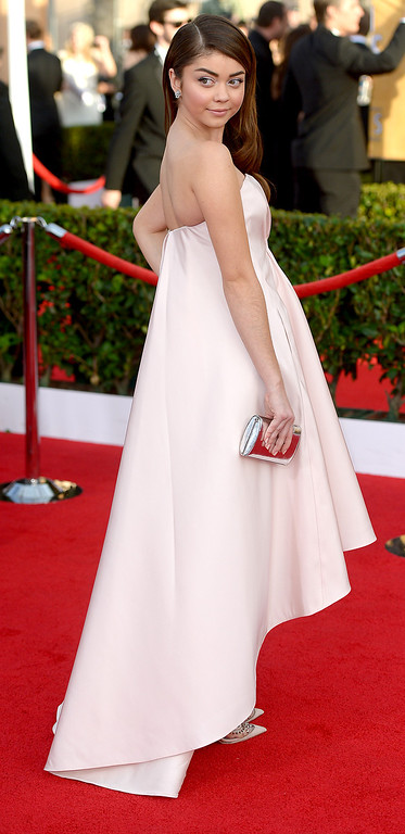 . Sarah Hyland arrives at the 20th Annual Screen Actors Guild Awards  at the Shrine Auditorium in Los Angeles, California on Saturday January 18, 2014 (Photo by Michael Owen Baker / Los Angeles Daily News)