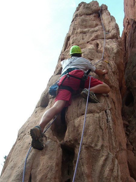 However, I rapped down the left side, thus failing to properly set the top-rope belay for the second.