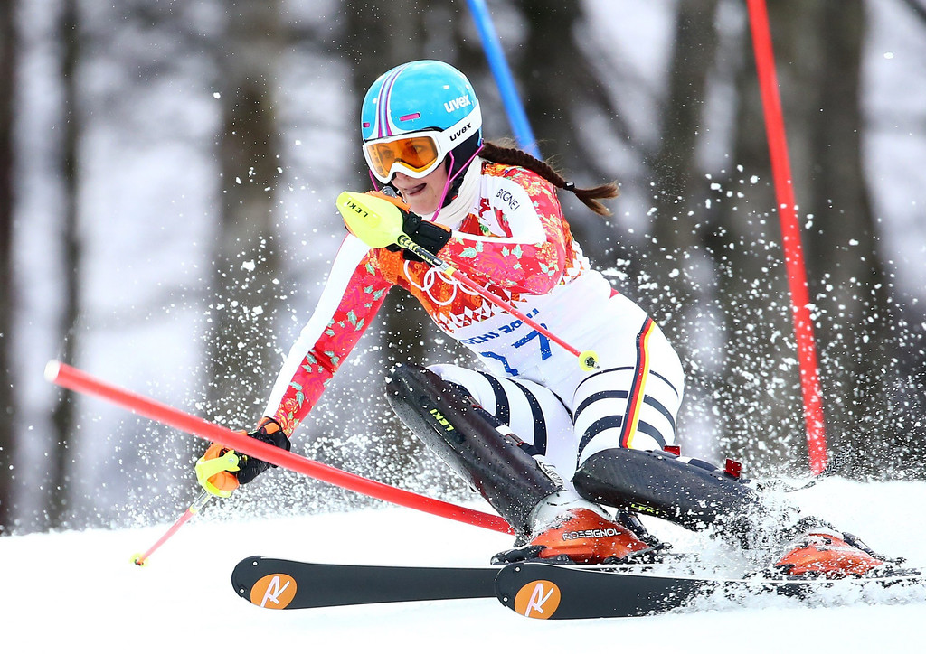 . Christina Geiger of Germany in action during the first run of the Women\'s Slalom race at the Rosa Khutor Alpine Center during the Sochi 2014 Olympic Games, Krasnaya Polyana, Russia, 21 February 2014.  EPA/MICHAEL KAPPELER