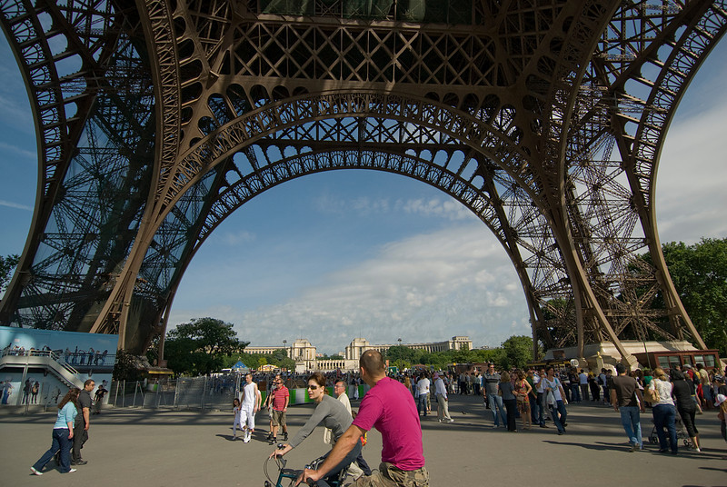 Busy scene outside the Eiffel Tower - Paris, France