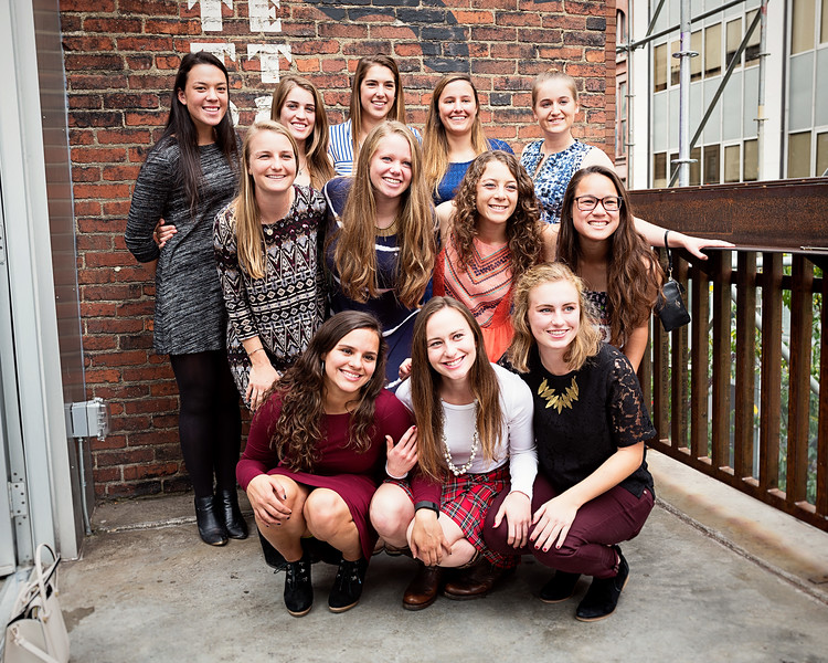 CMU Women's Soccer Class of 2018 pose for a shot during the 25th anniversary celebration of the women's soccer program.