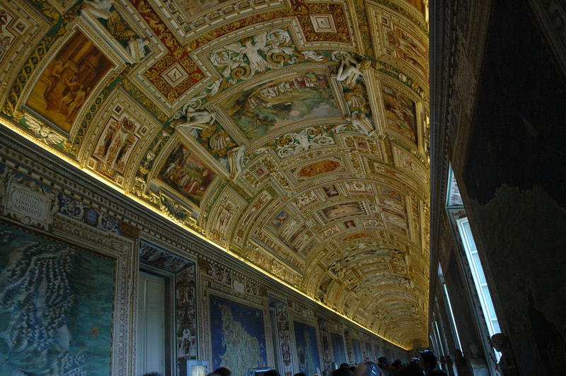 Ceiling of the map room in the Vatican Museum.