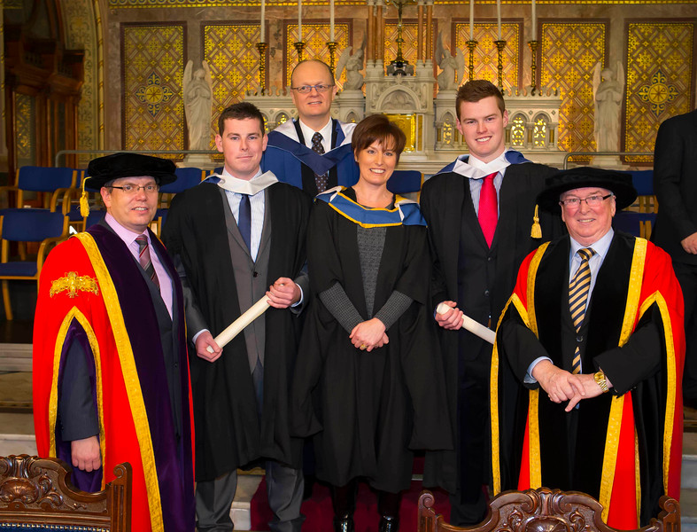 Waterford Institute Of Technology Conferring. Pictured at WIT Waterford Institute Of Technology Conferring from left, Dr. Ruaidhrí Neavyn, President, WIT, Geoff Deegan, Waterford who graduated Bachelor Business,  Dr. Tom O'Toole, Head of School of Business WIT, Patricia Bowe WIT, David Fitzgerald, Waterford who graduated Bachelor Business and Dr Donnie Ormonde Chairman WIT. Picture: Patrick Browne