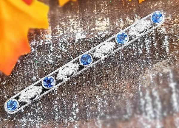 Diamond and Sapphire Bar Pendant