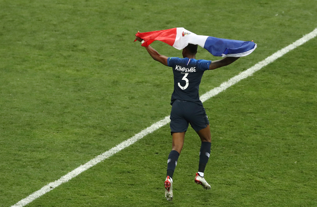. France\'s Presnel Kimpembe celebrates at the end of the final match between France and Croatia at the 2018 soccer World Cup in the Luzhniki Stadium in Moscow, Russia, Sunday, July 15, 2018. (AP Photo/Thanassis Stavrakis)