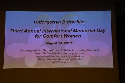 8-14-2019 Third Annual International Memorial Day for Comfort Women @ Temple Emanu-El , Dallas