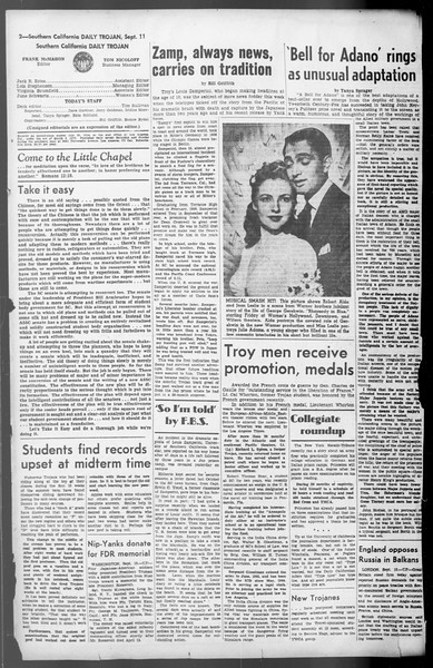 Daily Trojan, Vol. 36, No. 197, September 11, 1945