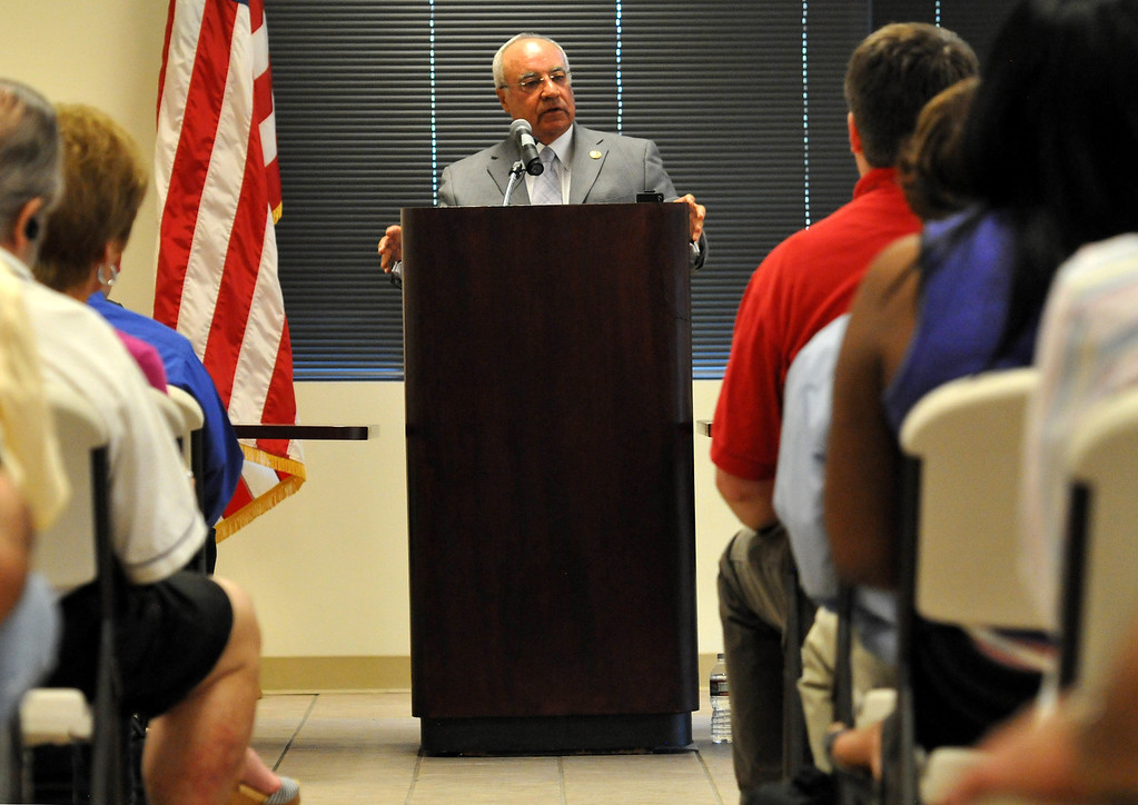 . (John Valenzuela/Staff Photographer) Candidate for the 31st Congressional District, Joe Baca speaks to a full house, during candidate forum hosted by the Redlands Area Democratic Club at the Operating Engineers Union Hall in Redlands, Saturday, August 25, 2013.
