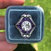2.27ct (est) Art Deco Old European Cut Diamond with Amethyst Halo Ring 28