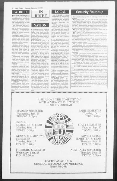Daily Trojan, Vol. 116, No. 11, September 17, 1991