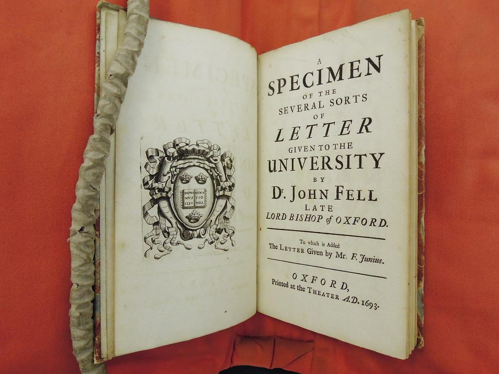 Fell Types Specimen 1693 Oxford University Press