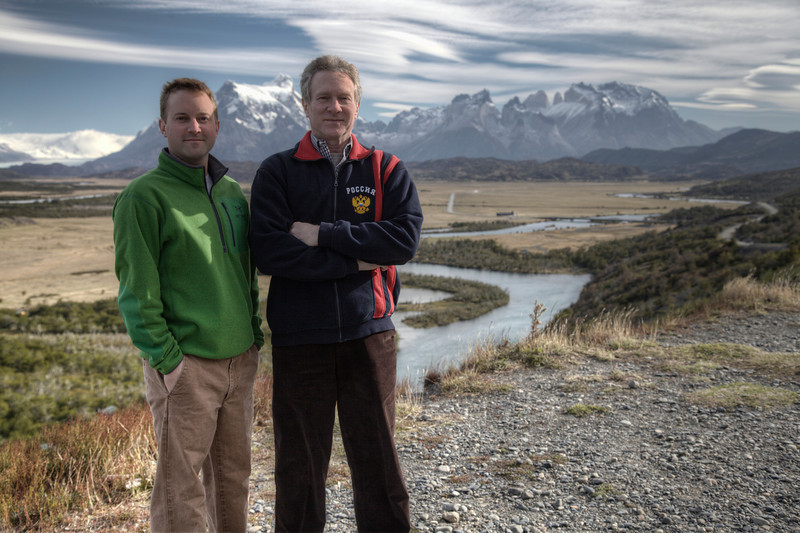 A father-son shot high above the Rio Serrano Valley at Torres del Paine National Park. (HDR)