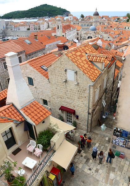 Great view of street scenes from atop the walls - Dubrovnik