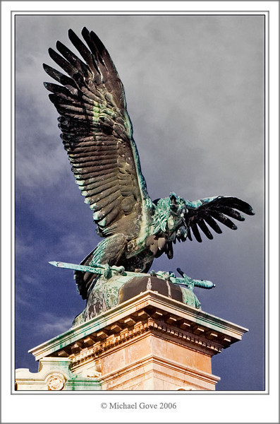 Copper sheathed Eagle outside Budapest Castle (69238262).jpg