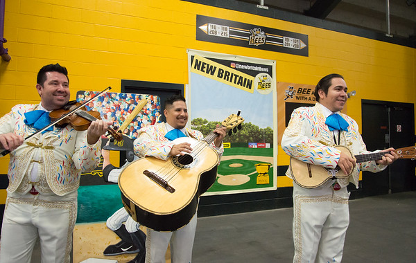 05/03/19 Wesley Bunnell | Staff The New Britain Bees home opener vs the Somerset Patriots on Friday night at New Britain Stadium. A mariachi band from Cirque Du Soleil Luzia performs for fans.