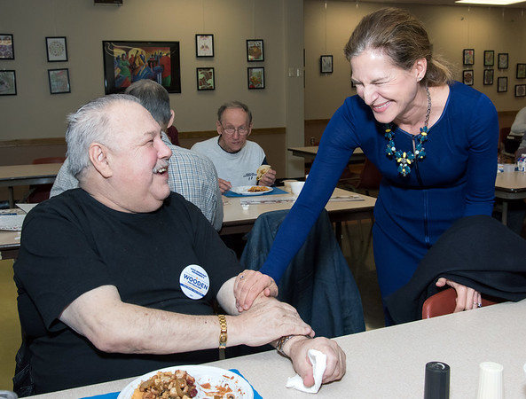 10/30/18 Wesley Bunnell   Staff Democratic candidate for Lt. Governor Susan Bysiewicz speaks with Edward Suchecki at the New Britain Senior Center during a visit by Democratic candidates for state office.