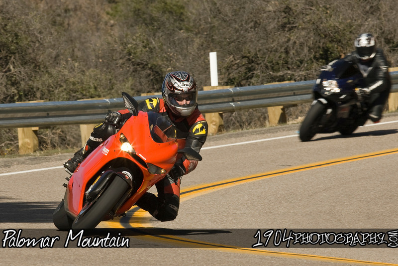 A Ducati 1098 Motorcycle Rides down South Grade Rd. on Palomar Mountain in San Diego, California