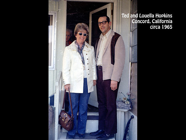 Ted and Louella Hopkins with Goldie Hopkins behind, in Concord, California in about 1970.