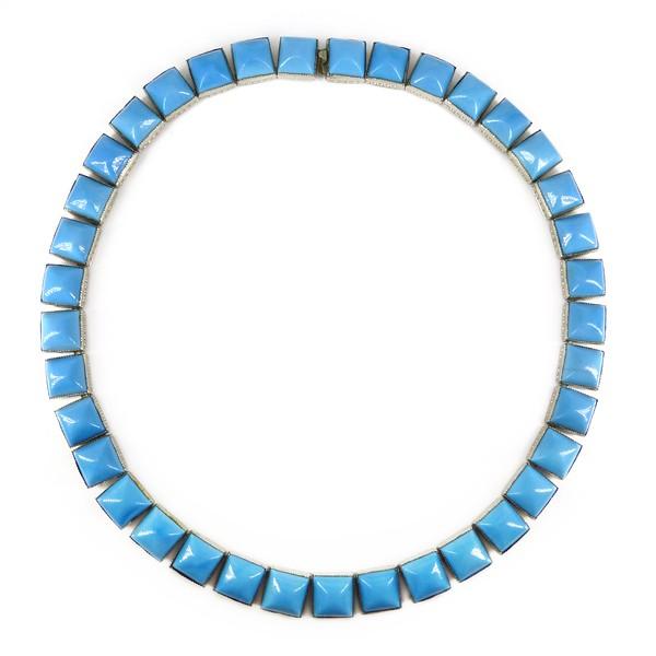 Antique Art Deco Turquoise Blue Glass Bezel Set Necklace