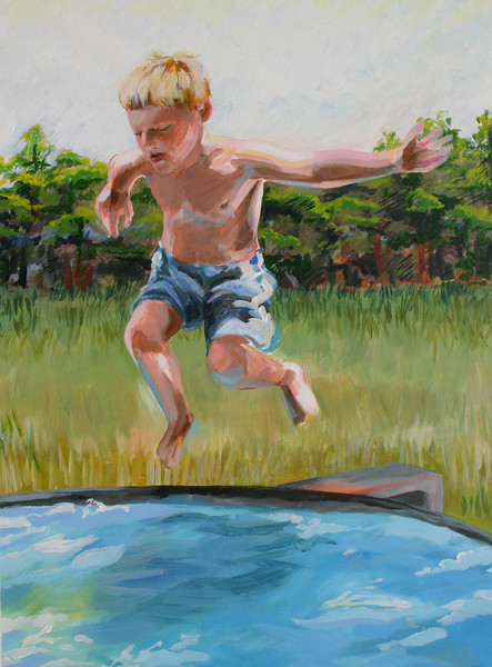 """The Pool Jump, 20"""" x 30"""" acrylic on paper, 2008"""