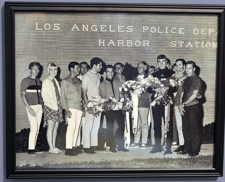 """. 2/19/13 - A photo on display for \""""Coming Out in Long Beach\""""  the Historical Society of Long Beach\'s latest exhibit. Opening Feb. 26, the year long display chronicles the gay community\'s struggle for equality and justice. This image is of a rally in front of the Harbor police station after a large group of the LGBT community were arrested at The Patch. Photo by Brittany Murray / Staff Photographer"""