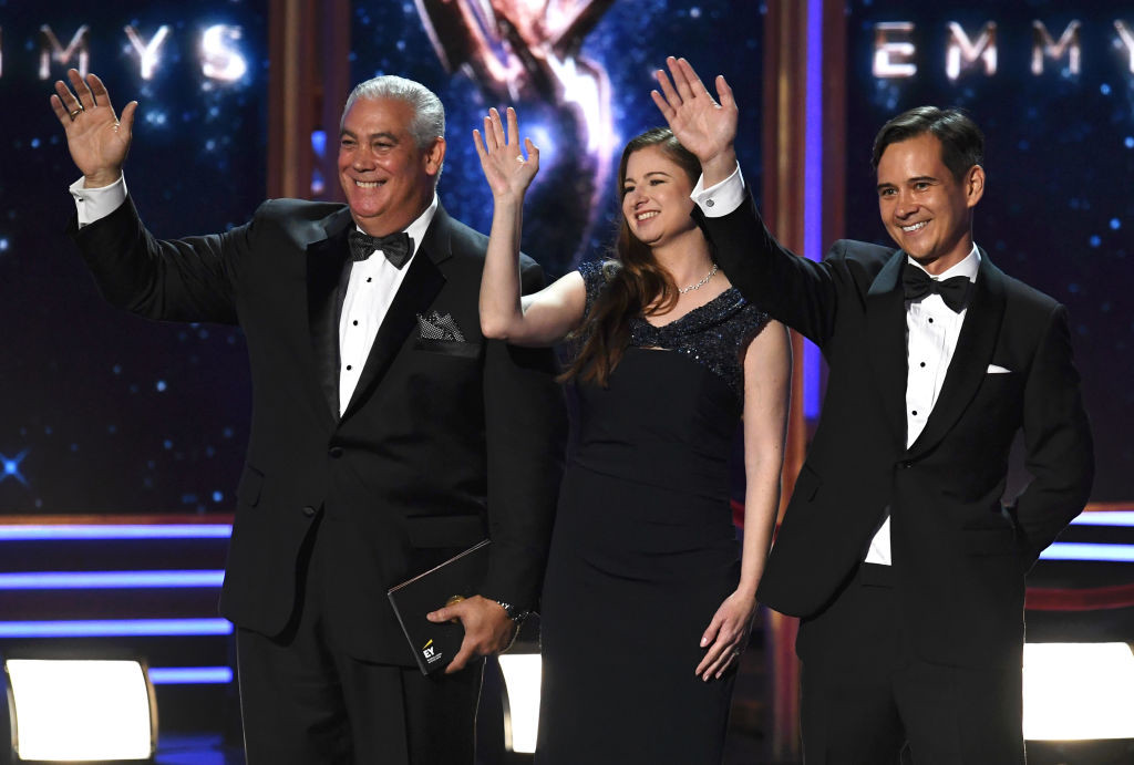 . LOS ANGELES, CA - SEPTEMBER 17:  EY (Ernst & Young) representatives appear onstage during the 69th Annual Primetime Emmy Awards at Microsoft Theater on September 17, 2017 in Los Angeles, California.  (Photo by Kevin Winter/Getty Images)