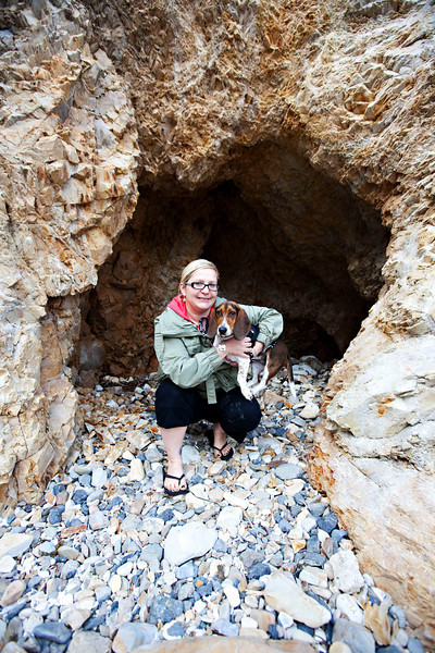 Autumn and Suki in a cave on Pismo Beach