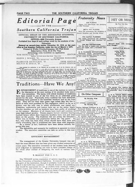 The Southern California Trojan, Vol. 11, No. 62, March 02, 1920