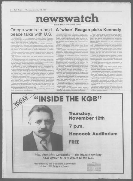 Daily Trojan, Vol. 105, No. 50, November 12, 1987
