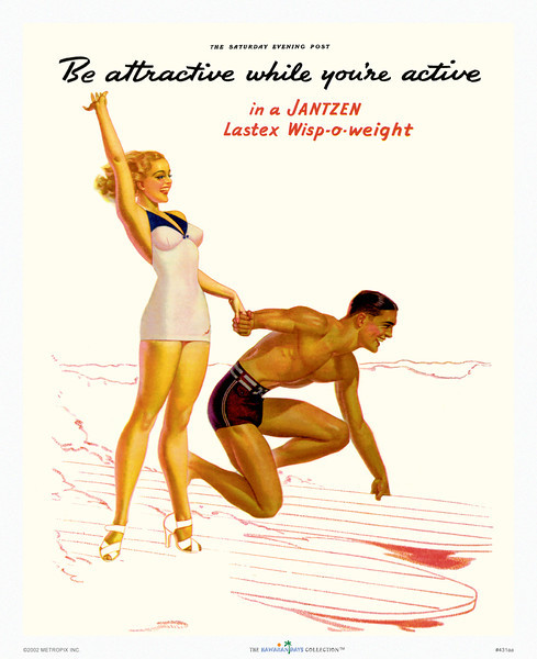 """431: Vintage surfing image. """"Be Attractive While You're Active."""" Who wouldn't want to be as attractive as this surfing couple in a retro Fifties Hawaiian ad? Great surfing image that looks great framed. 1960's."""