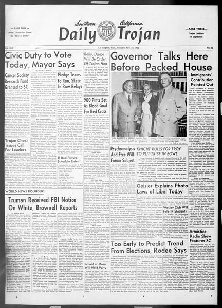 Daily Trojan, Vol. 45, No. 36, November 10, 1953