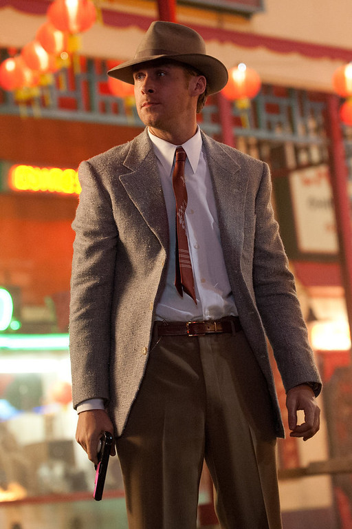 ". This film image released by Warner Bros. Pictures shows Ryan Gosling as Sgt. Jerry Wooters in ""Gangster Squad.\"" (AP Photo/Warner Bros. Pictures, Jamie Trueblood)"