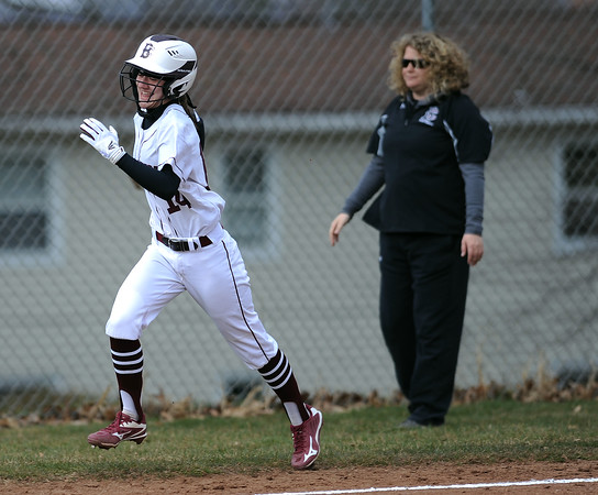 4/11/2018 Mike Orazzi | Staff Bristol Central's Kayla Beaulieu (14) after a home run Wednesday against Wethersfield in Bristol
