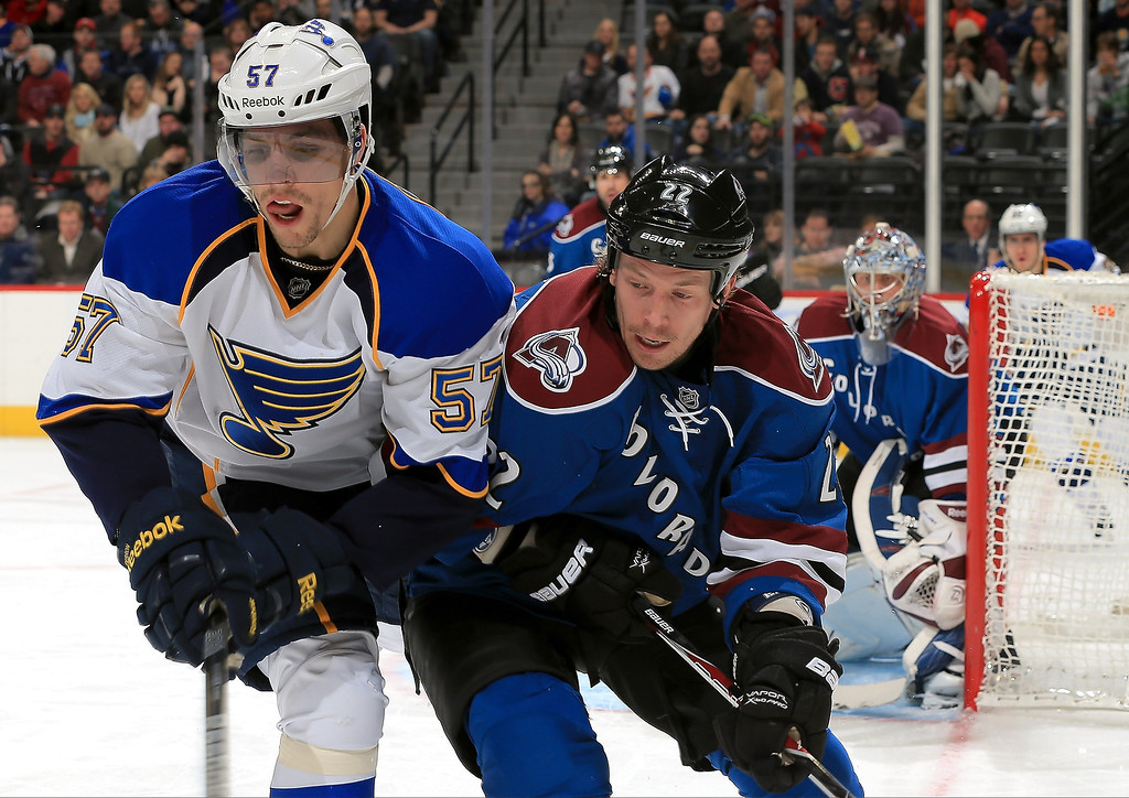 . David Perron #57 of the St. Louis Blues and Matt Hunwick #22 of the Colorado Avalanche battle for control of the puck at the Pepsi Center on February 20, 2013 in Denver, Colorado.  (Photo by Doug Pensinger/Getty Images)