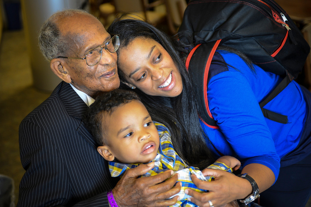. Walter Crenshaw poses with his great granddaughter, Keva Womble and his great, great grandson Jason Womble, 2, at his 104th birthday Sunday, October 27, 2013.  A surprise 104th birthday celebration was held for the oldest living Tuskegee Airman at the Veterans Home of California in Los Angeles.   ( Photo by David Crane/Los Angeles Daily News )