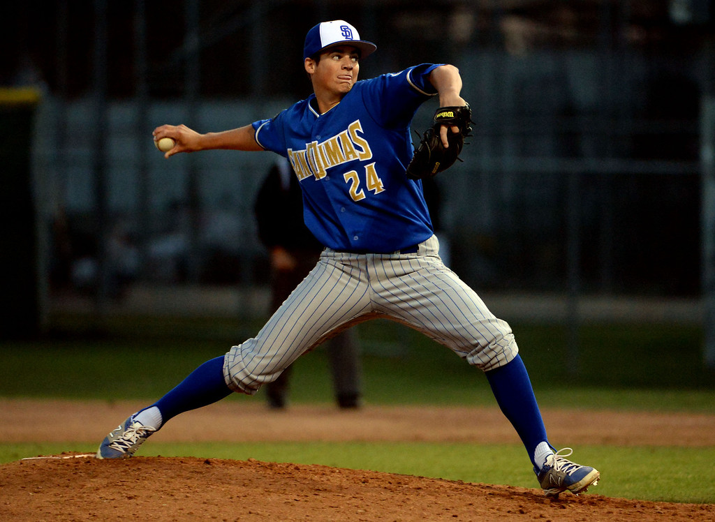 . San Dimas starting pitcher Peter Lambert (C) throws to the plate against Bonita in the fourth inning of a prep baseball game at Bonita High School in La Verne, Calif., on Wednesday, March 19, 2014.  (Keith Birmingham Pasadena Star-News)