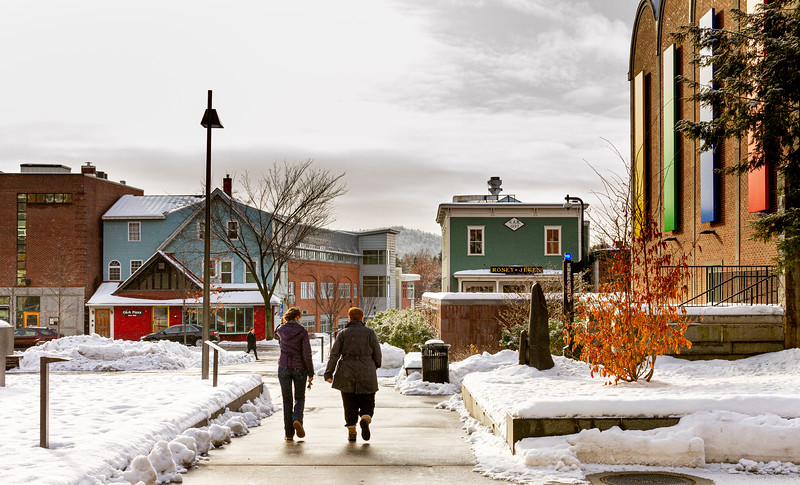 The mall in front of the Black Family Visual Arts Center at Dartmouth College in Hanover, NH