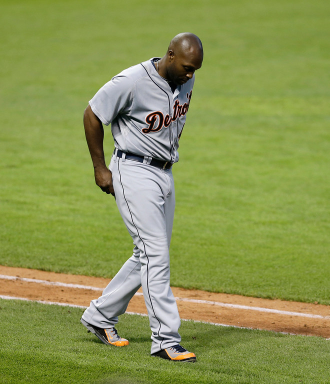 . Detroit Tigers\' Torii Hunter walks away from the plate after striking out in the fifth inning of a baseball game against the Cleveland Indians, Monday, May 19, 2014, in Cleveland. (AP Photo/Tony Dejak)
